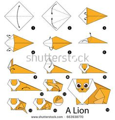Step by step instructions how to make origami A Lion. Origami Lion, Origami Yoda, Origami Star Box, Origami Dragon, Origami Animals, Origami Stars, How To Make Origami, Useful Origami, Origami Easy