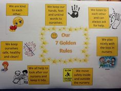 Our golden rules. We worked as a team to develop them based on any behaviour that could occur and for adults and children. Nose picking, hitting, pushing, not tidying, hopefully all covered! Space Classroom, Classroom Displays, Classroom Decor, First Day Of School, Pre School, Class Charter, Gooseberry Bush, Nose Picking, British Values