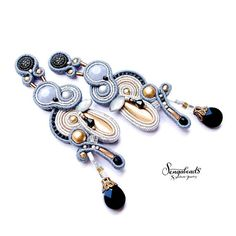 Long soutache hand embroidered stud earrings in gray black