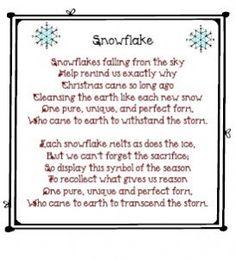 snowflake poem printable--love this!