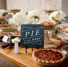 winter wedding ideas buffet of pies