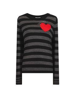 Sonia By Sonia Rykiel Intarsia Heart Motif Grey Striped Sweater: Sonia by Sonia Rykiel striped crew neck knit sweater with pinned heart intarsia.