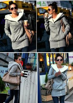Concise Cross Collar Zipper Side Long Sleeves Fleece Coat For Women, GRAY, ONE SIZE in Jackets & Coats | DressLily.com