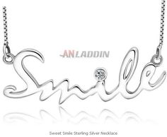 Sweet Smile Sterling Silver Necklace Cheap Silver Jewelry, Crystal Jewelry, Sterling Silver Necklaces, Place Card Holders, Smile, Crystals, Sweet, Sterling Necklaces, Candy