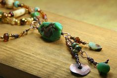 Beaded Necklace with Copper Wire Wrapped by AllowingArtDesigns