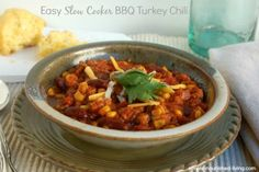 Easy Slow Cooker BBQ Turkey Chili | Weight Watchers Friendly Recipes #HealthySlowCooker #WeightWatchersCrockPot