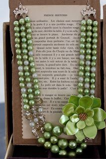 Display for necklaces-uses french book that has been cut apart but could use printables instead of books