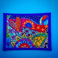 Fabric postcard by Laura Marshall for iHanna's DIY Postcard Swap 2015 #fabricpostcard #diypostcardswap