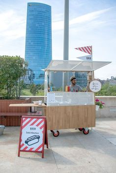 with canopy and sneeze guard arquimaña's modern food truck sells artisan hot dogs in bilbao