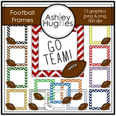 15 high quality graphics for personal and commercial use!  -jpeg and png versions of each graphic -blackline included  I created these for my Friday Freebie blog post just in time for the Superbowl!.  Use these fun chevron football frames to make a little sign in support of your team.