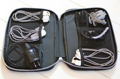 Case for cords. Not sure what kind of case this is but I need it. Why didn't I think of that? I hate cord clutter.