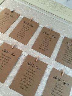 Brown table cards on vintage lace table plan