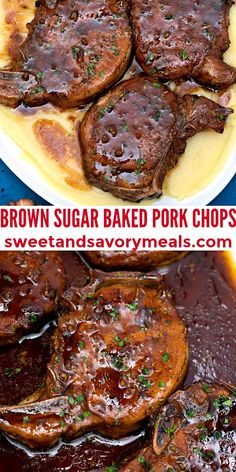 Brown Sugar Baked Pork Chops are seared in a spice rub, then baked to perfect tenderness in garlic, brown sugar, and balsamic sauce. #bakedporkchops #porkchops #sweetandsavorymeals #porkrecipes #brownsugarbakedporkchops