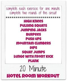 20 Minute Hotel Room Workout (no equipment required) Killer Workouts, Easy Workouts, At Home Workouts, Office Workouts, Circuit Workouts, Circuit Training, Cardio Workouts, Workout Exercises, Fitness Workouts