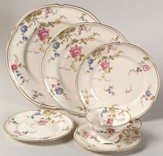 """Sunnyvale"" china pattern in cream with pink blue flowers from Castleton."