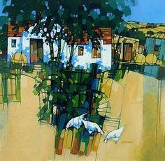 Scottish artist Joe Smernicki. Naive Art, Bold Colors, Scotland, Coastal, Buildings, Folk, Landscapes, Gardens, Paintings
