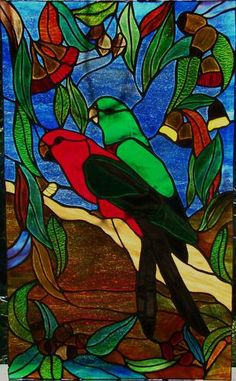 AUSTRALIAN EUCALYPTUS GUM LEAVES & BLOSSOMS, KING PARROT, MALE & FEMALE PAIR STAINED GLASS WINDOW original leadlight designs...shipping worldwide....$650