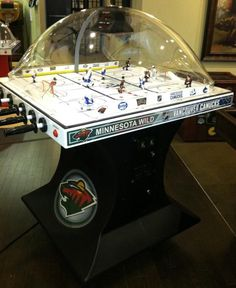"""The Official NHL Minnesota Wild vs. Vancouver Canucks Chexx """"Bubble"""" Hockey! Sold at Peters Billiards in Minneapolis, MN."""