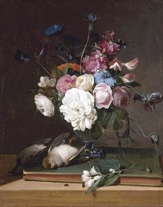 BOILLY, Louis Léopold Still-Life of Flowers in a Glass Vase 1790-95 Oil on panel, 32 x 27 cm Private collection