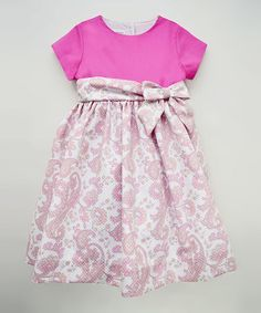 Hot Pink Paisley Bow Dress - Toddler & Girls