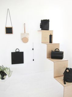 Established in and designed in Los Angeles, discover Building Block's minimal leather handbags, shoes and accessories. Market Displays, Store Displays, Display Design, Store Design, Visual Merchandising, Building Block Bag, Showroom, Handbag Display, Leather Bag Tutorial