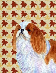English Toy Spaniel Fall Leaves Portrait Flag Canvas House Size