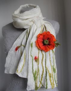 Reserved for Ang- REDUCED PRICE- Nuno Felted White Scarf- OOAK-Wearable Art…