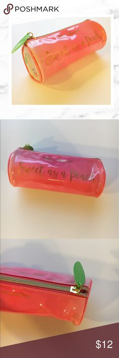 """Too Faced Sweet As A Peach Makeup Bag Too Faced special limited edition Sweet as a Peach make up bag. New and never used! No defects. Did not come with tags. Measures appx 7.5"""" long and 3"""" wide. Has cute zip top as shown. These were a special promo from Too Faced available only with purchase of the special release of their Peach line. Not ever available to buy in stores. Too Faced Bags Cosmetic Bags & Cases"""