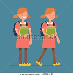 Cool vector flat design friendly smiling smart little girl kid character standing and walking with backpack, holding school books   Primary schoolgirl full length basic poses - stock vector