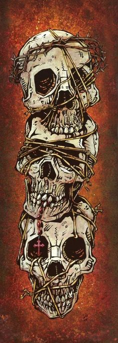 Day of the Dead artist David Lozeau paints Dia de los Muertos art, skeleton art, sugar skull art, and candy skull art in his unique Lowbrow art style. Tatto Skull, Tatoo Art, Tattoo Music, Los Muertos Tattoo, La Danse Macabre, Arte Black, Totenkopf Tattoos, Day Of The Dead Art, Ties That Bind