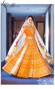 Yellow bridal lehenga , laddoo color bridal lehenga , saffron bridal lehenga…