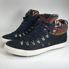 huge discount 53088 1e0d2 Aldo High Top Sneakers Size 13 Mens Bickleman Navy Blue Red Green Tapestry    eBay Bollywood
