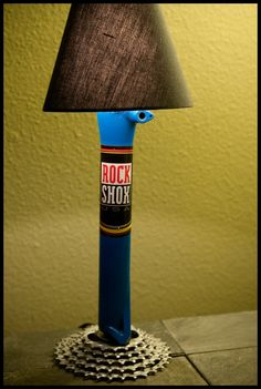 Desk Lamp made from recycled bike parts. by ecotreelinedesigns