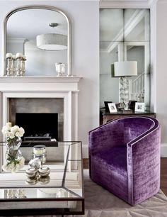 Purple Living Room Decor Design Ideas, Pictures, Remodel and Decor Luxe Decor, Home, London Living Room, Purple Living Room, Oak Furniture Land, Elegant Living Room, Living Room Mirrors, Elegant Chair, Elegant Living