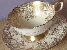 Antique gold grapes tea cup and saucer Royal by ShoponSherman