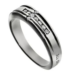CHRIST MY STRENGTH Promise Ring, Bible Verse with CZ Cross, Stainless Steel