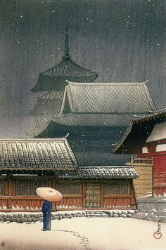 Tennoji Temple In Snow, Osaka-- Kawase Hasui, 1927 - Ukiyo-e. Japan Illustration, Japanese Woodcut, Art Chinois, Bokashi, Art Asiatique, Japanese Painting, Japanese Prints, Japan Art, Osaka Japan