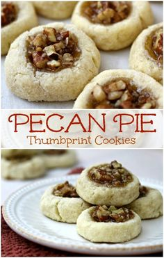 Pecan Thumbprint Cookies A recipe for pecan thumbprint sugar cookies. With just a few ingredients you can make simple sugar cookies with a delicious pecan thumbprint cookie filling! The post Pecan Thumbprint Cookies appeared first on Belle Ouellette. Köstliche Desserts, Holiday Baking, Christmas Desserts, Delicious Desserts, Dessert Recipes, Yummy Food, Christmas Cookie Recipes, Christmas Christmas, Plated Desserts