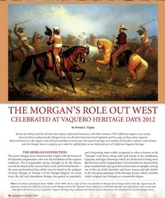 VHD was honored to have Morgan Horse magazine's Brenda Tippin attend our event in August and do a feature story in their Sept/Oct issue. The 5-page article covered the event, horsemen demos, CA's vaquero history, artisans & special guests plus the Morgan breed's related heritage. Lots of photos. We thank Brenda & Morgan Horse mag for their support. (entire article may be seen & read at www.jafmorganstockhorses.com.)