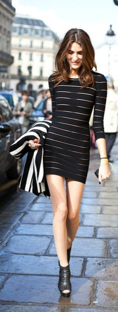 #StreetStyle striped dress street style #heels in paris. You are your best outfit. Find out how. CLICK THE PHOTO :)