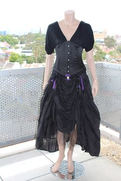 Upcycled Black and purple gothicburlesque front by Manabnana, $60.00