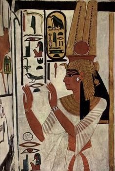 Ancient Egyptian painting of Queen Nefertari two feathers like Anubis ears traditional bent top staff Ancient Egyptian Paintings, Ancient Egypt Art, Ancient History, Art History, Egyptian Queen, Egyptian Goddess, Egyptian Art, Egyptian Beauty, Egyptian Cotton