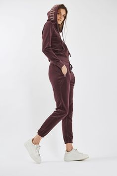 Logo Velour Hoodie by Juicy Couture - New In- Topshop Europe Sport Fashion, Fitness Fashion, Juicy Couture Tracksuit, Sporty Outfits, Sport Casual, Comfortable Outfits, Hoodies, Sweatshirts, Lounge Wear