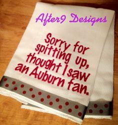 Alabama Burp Rag Baby Infant Thought I saw an Auburn fan.   Too funny .....  on Etsy