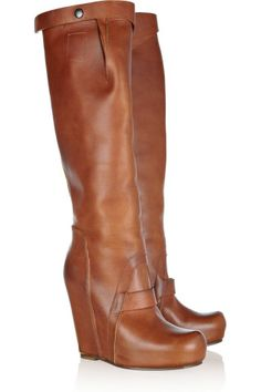 Leather wedge knee boots