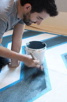 DIY Painted Rug  @ScotchBlue Painter's Tape