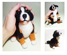 Puppy dog by Kridah on DeviantArt Love Crochet, Crochet Yarn, Crochet Toys, Crochet Dog Patterns, Amigurumi Patterns, Felt Dogs, Dog Crafts, Knitted Animals, Stuffed Toys Patterns