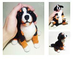 Puppy dog by Kridah on DeviantArt Crochet Dog Patterns, Animal Knitting Patterns, Amigurumi Patterns, Cute Crochet, Crochet Yarn, Crochet Toys, Felt Dogs, Dog Crafts, Knitted Animals