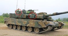 Korean K2 Tank's Hardkill Protection System, Left Circle: Launcher System, Right Circle: Active Detection System