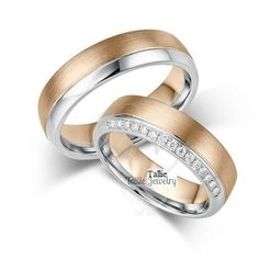 Matching Wedding Bands,His & Hers Wedding Rings Set,14K Gold Two Tone Wedding Rings,Couple Wedding Bands,Womens Wedding Bands,Diamond Rings